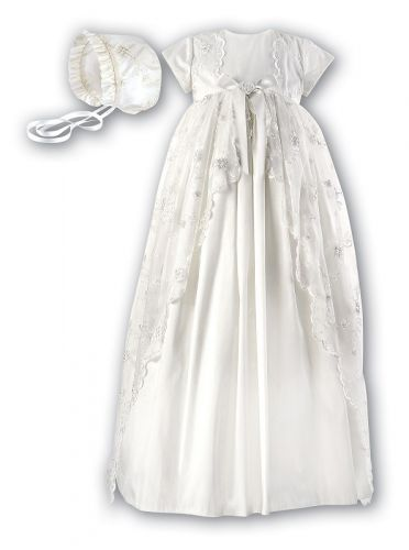 Lace and Silk Christening Gown and Bonnet