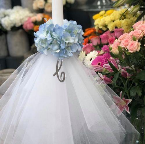 flower and acrylic initial mirrored lambatha