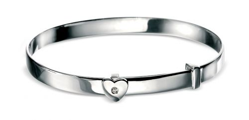 Silver Christening Bangle with heart