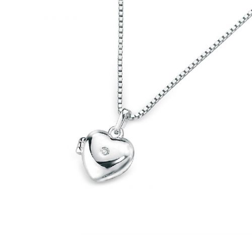 Solid Silver Locket with a Diamond Centre
