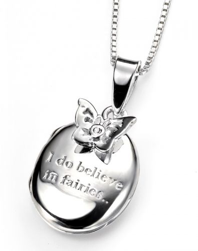 Silver Locket with Butterfly and Diamond
