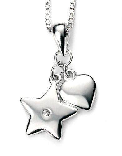 Heart and Star Charm with Real Diamond