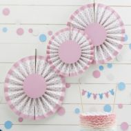 Pink Spotty Fan Decorations