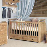 Amelie Oak Cot Bed with Drawers