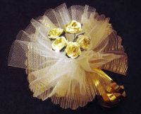 Three Gold and Ivory Tulles with Five Luxury Gold and Ivory Roses